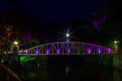 The Jubilee Bridge. Matlock Bath Derbyshire At Night Royalty Free Stock Photography