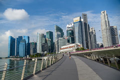 Jubilee bridge and Singapore business district Royalty Free Stock Image