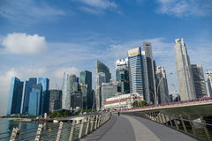 Jubilee bridge and Singapore business district Royalty Free Stock Photography