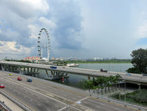 Jubilee Bridge and Singapore Flyer Royalty Free Stock Image