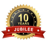Jubilee Button with Banner - 10 YEARS vector illustration
