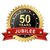 Jubilee Button with Banner - 50 YEARS Royalty Free Stock Photography
