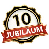 Jubilee button with banner 10 years. Jubilee button with banner for 10 years (text in german) stock illustration