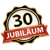 Jubilee button with banner 30 years. Jubilee button with banner for 30 years (text in german) vector illustration