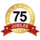 Jubilee button with banner 75 years. Round jubilee button with red banner for marketing use for 75 years royalty free illustration