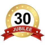 Jubilee button with banner 30 years. Round jubilee button with red banner for marketing use for 30 years royalty free illustration
