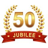 Jubilee button with banner 50 years stock illustration