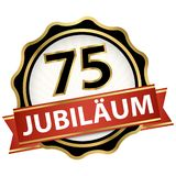 Jubilee button with banner 75 years. Jubilee button with banner for 75 years (text in german) stock illustration