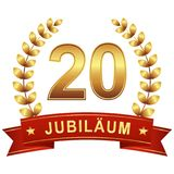 Jubilee button with banner 20 years. Jubilee button with banner for 20 years (text in german) vector illustration