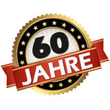 Jubilee button 60 years. Round jubilee button with red banner and german text 60 years royalty free illustration