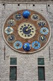 The Jubilee clock on the Zimmer Tower, Lier, Belgium. The jubilee clock, designed and made by astronomer and clockmaker Louis Zimmer, on the Zimmer tower in Lier Stock Images
