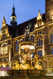 Jubilee fountain in front of the town hall in Wuppertal-Elberfeld near Nacht. Germany Royalty Free Stock Images