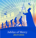 Jubilee of marcy with pope. On rome background Royalty Free Stock Images