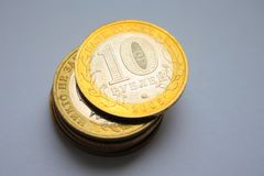 Jubilee russian ten roubles. Jubilee russian coins by value ten roubles Stock Images