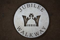 Jubilee walkway. Sign in London, at Tower Bridge stock photography