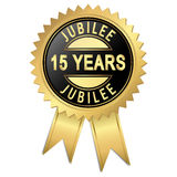 Jubilee - 15 years. Jubilee button with 15 years Stock Image