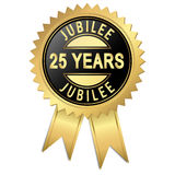 Jubilee - 25 years. Jubilee button with 25 years Royalty Free Stock Photography