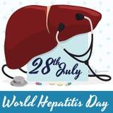 Jubileums- design för hepatitdag med lever, stetoskopet och mediciner, vektorillustration Fotografering för Bildbyråer
