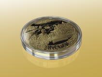 Jubileums- guld- mynt Arkivbilder