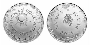 Jubileums- litasmynt för cirkulation 50 Royaltyfri Bild