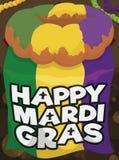 Jubileums- Mardi Gras Flag och läckra konungs kaka, vektorillustration stock illustrationer