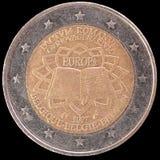 Jubileums- mynt för euro som två utfärdas av Belgien i 2007 för årsdagen av romfördraget Royaltyfri Bild