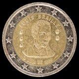Jubileums- mynt för euro som två utfärdas av Belgien i 2009 till celebraen Arkivfoton