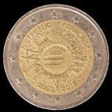 Jubileums- mynt för euro som två utfärdas av Frankrike i 2012 och celebra Arkivfoto