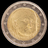 Jubileums- mynt för euro som två utfärdas av Italien i 2013 och commemor Arkivfoto