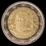 Jubileums- mynt för euro som två utfärdas av Italien i 2014 och commemor Royaltyfri Foto