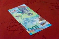 Jubileums- 100 rubel sedlar för den FIFA världscupen 2018 Arkivfoton