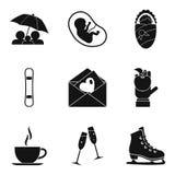 Jubla symbolsuppsättningen, enkel stil stock illustrationer
