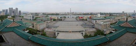 金日成Juche想法的广场和塔,平壤 免版税库存图片