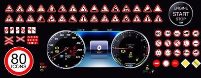 80 jucznych ikon - Samochodowa deska rozdzielcza, drogowych znaków ikony, deski rozdzielczej wektorowa ilustracja, kolekcja, ostr royalty ilustracja