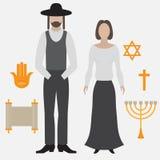 Judío, hombre y mujer ortodoxos Icono plano Imagen de archivo
