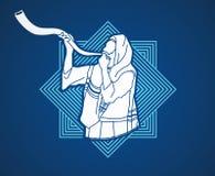 Judío que sopla el cuerno del kudu de las ovejas del shofar stock de ilustración