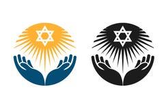 Judaïsme vectorembleem Jodenster of Godsdienstpictogram vector illustratie