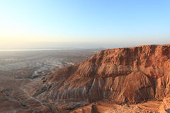 Judaean沙漠&死海从马萨达 免版税图库摄影