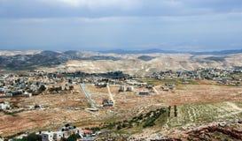 Judaean öken nära till Jerusalem, Israel Sikt från den Herodium Herodion fästningväggen arkivfoton