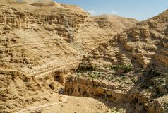 Judaean Desert in the Holy Land, Israel. Canyon near the monastery of Saint George of Choziba in Judaean Desert in the Holy Land, Israel Royalty Free Stock Images
