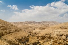 Judaean Desert in the Holy Land, Israel. Canyon near the monastery of Saint George of Choziba in Judaean Desert in the Holy Land, Israel Stock Images