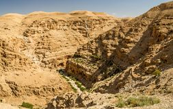 Judaean Desert in the Holy Land, Israel. Canyon near the monastery of Saint George of Choziba in Judaean Desert in the Holy Land, Israel Stock Photo