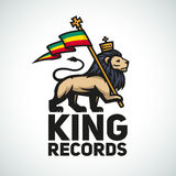 Judah lion with a rastafari flag. King of Zion Stock Photography