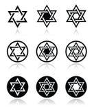 Judaicos, os ícones da estrela de David ajustaram-se no branco Fotografia de Stock