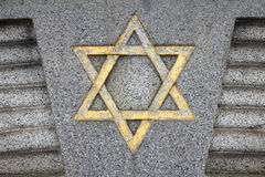 Judaism. Star of David - Jewish symbol on an old Hebrew grave in Milan, Italy Stock Image