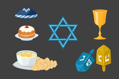 Judaism church traditional symbols icons set  hanukkah religious design and synagogue passover torah menorah Stock Image