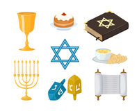 Judaism church traditional symbols icons set  hanukkah religious design and synagogue passover torah menorah Royalty Free Stock Photography