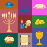 Judaism church traditional symbols icons set   illustration Stock Photography