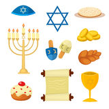 Judaism church traditional symbols icons set  vector illustration Royalty Free Stock Photos