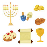 Judaism church traditional symbols icons set  vector illustration Royalty Free Stock Photo
